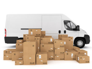 Loading stack of packed boxes on truck . 3D Rendering